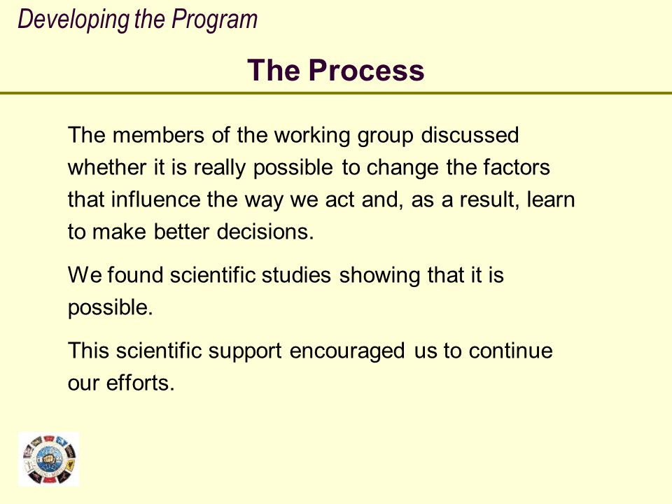 The Process Developing the Program