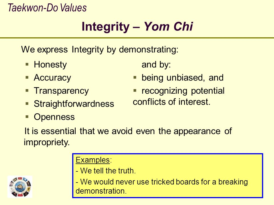Integrity – Yom Chi Taekwon-Do Values