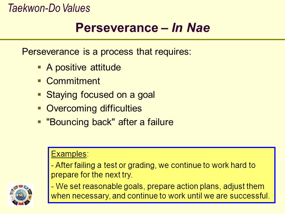 Perseverance – In Nae Taekwon-Do Values