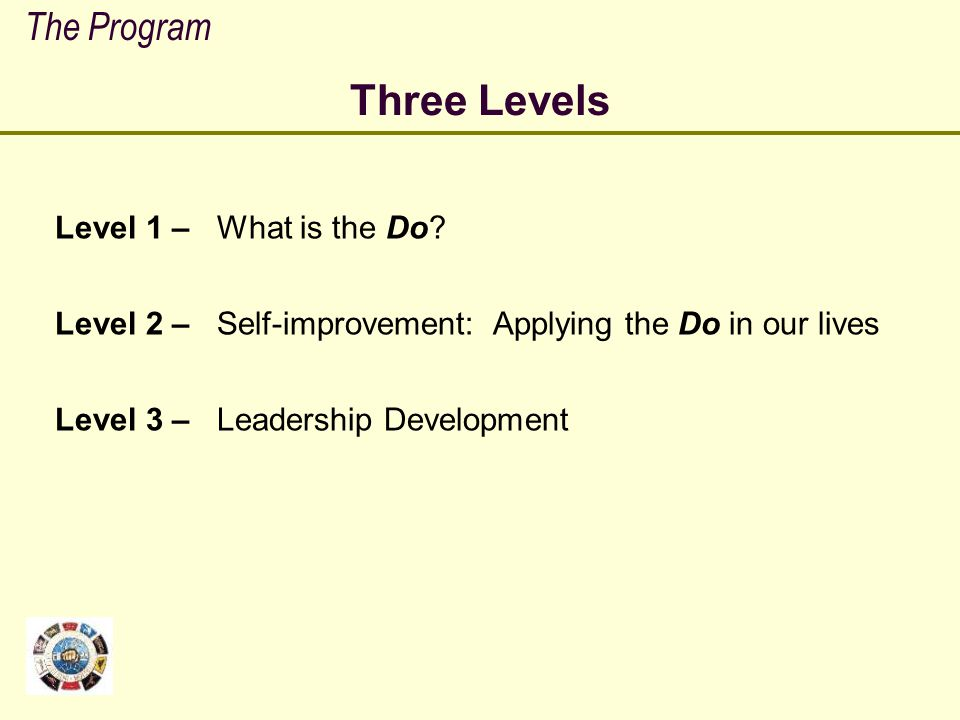Three Levels The Program Level 1 – What is the Do Level 2 –