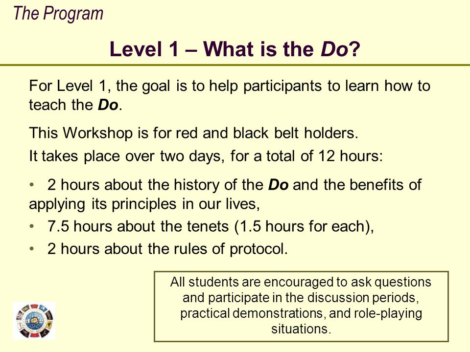 Level 1 – What is the Do The Program