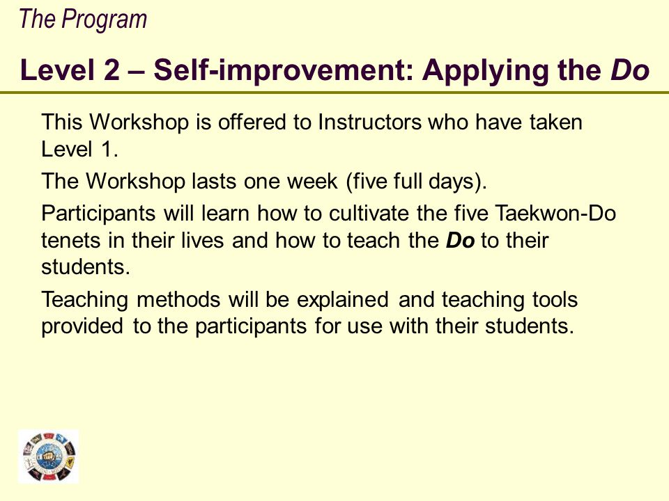 Level 2 – Self-improvement: Applying the Do