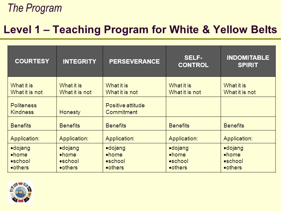 Level 1 – Teaching Program for White & Yellow Belts