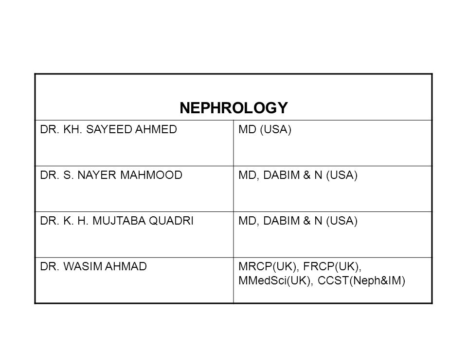 NEPHROLOGY DR. KH. SAYEED AHMED MD (USA) DR. S. NAYER MAHMOOD