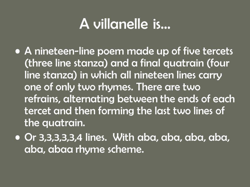 A villanelle is…