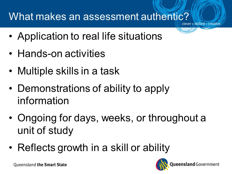 What makes an assessment authentic