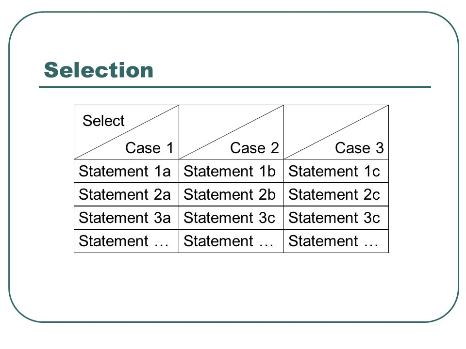 Selection Select Case 1 Case 2 Case 3 Statement 1a Statement 1b