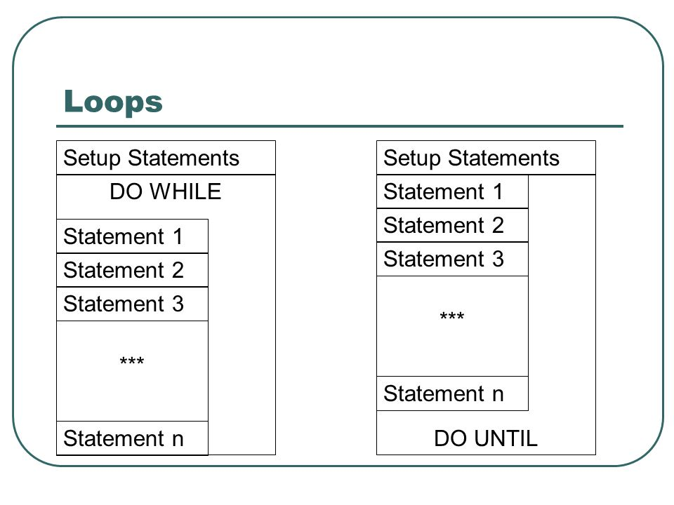 Loops Setup Statements Setup Statements DO WHILE Statement 1
