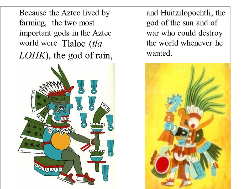 Because the Aztec lived by farming, the two most important gods in the Aztec world were Tlaloc (tla LOHK), the god of rain,