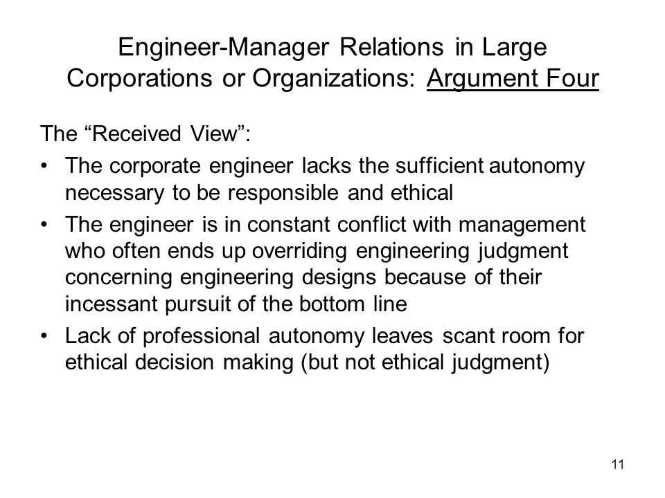 Engineer-Manager Relations in Large Corporations or Organizations: Argument Four