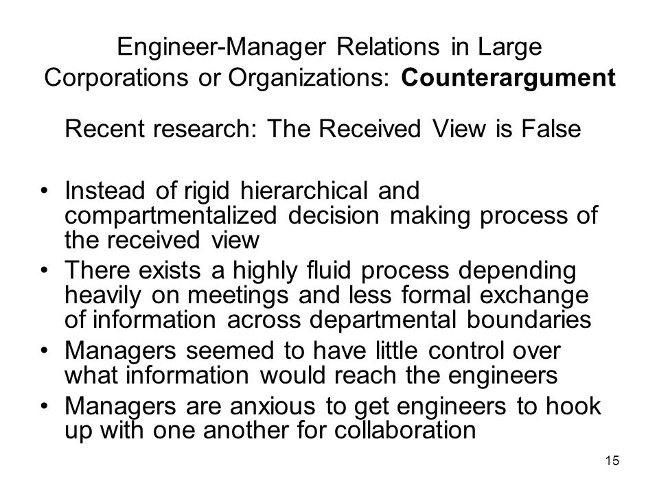 Engineer-Manager Relations in Large Corporations or Organizations: Counterargument