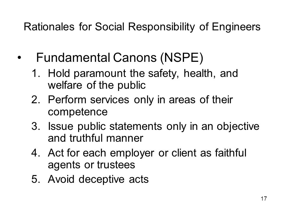 Rationales for Social Responsibility of Engineers