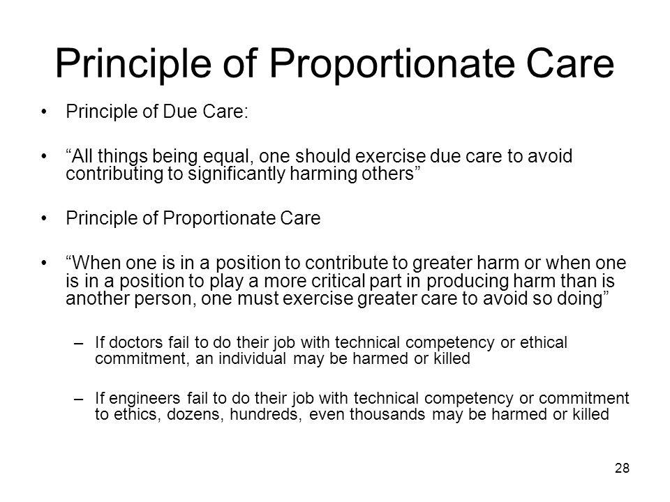 Principle of Proportionate Care