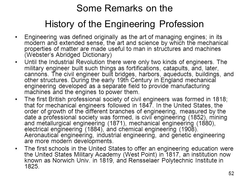 Some Remarks on the History of the Engineering Profession
