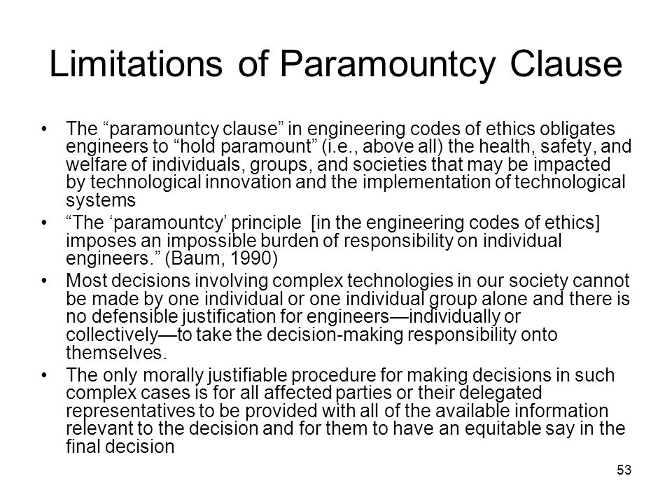 Limitations of Paramountcy Clause