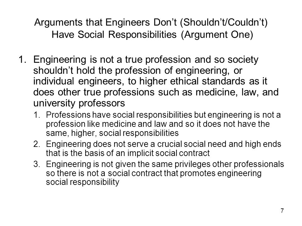 Arguments that Engineers Don't (Shouldn't/Couldn't) Have Social Responsibilities (Argument One)