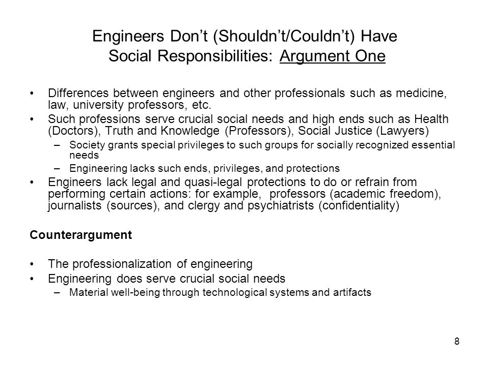 Engineers Don't (Shouldn't/Couldn't) Have Social Responsibilities: Argument One