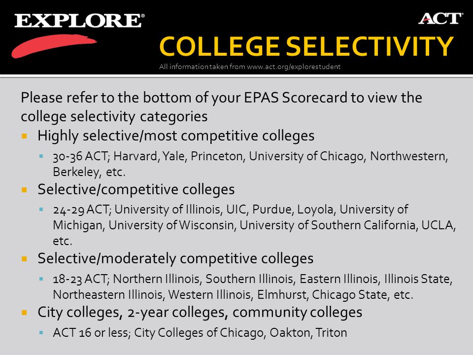COLLEGE SELECTIVITY Please refer to the bottom of your EPAS Scorecard to view the college selectivity categories.