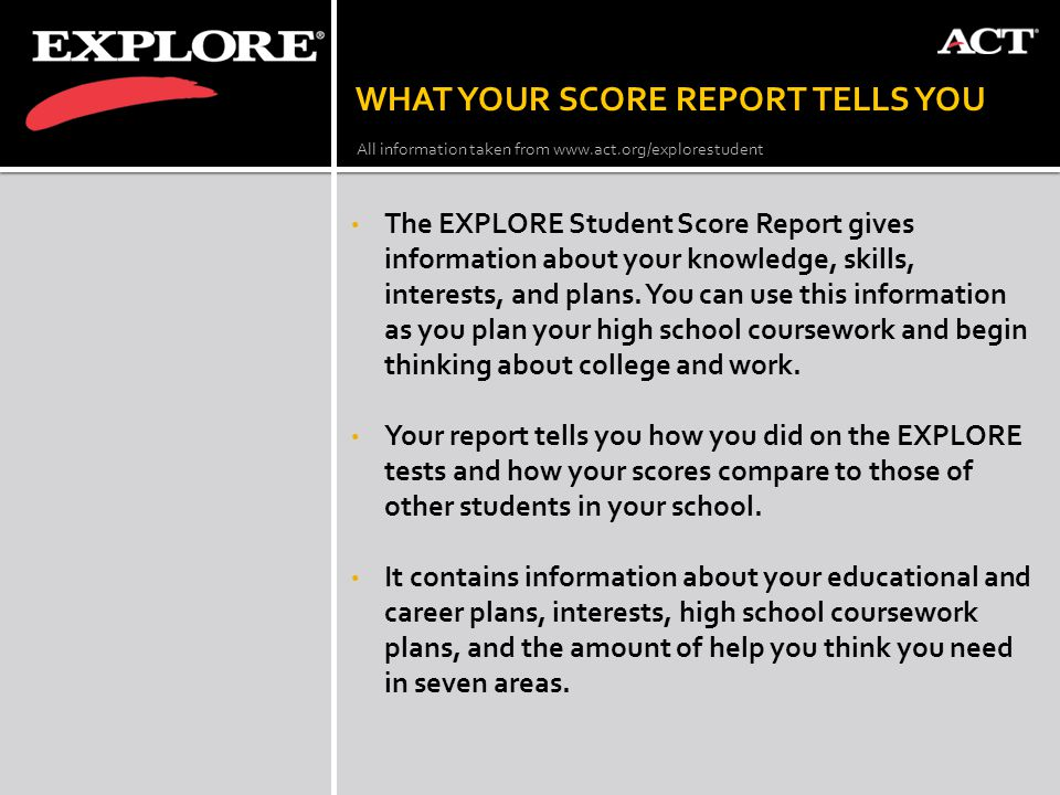 WHAT YOUR SCORE REPORT TELLS YOU