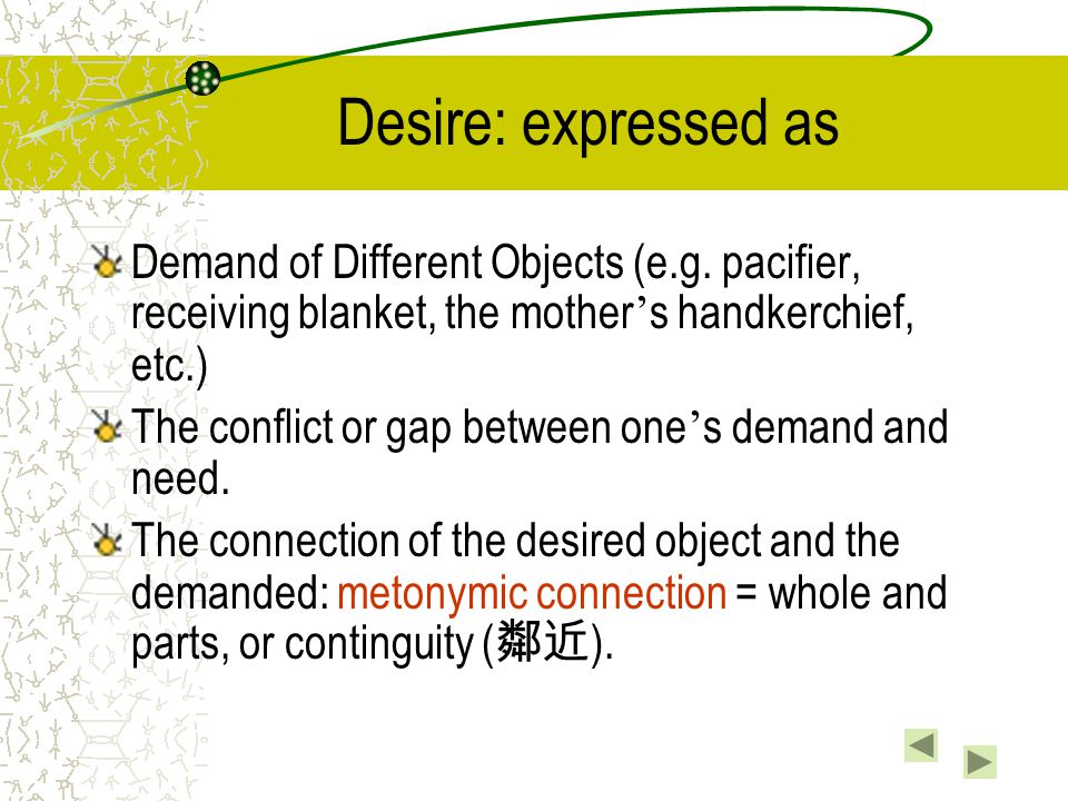 Desire: expressed as Demand of Different Objects (e.g. pacifier, receiving blanket, the mother's handkerchief, etc.)