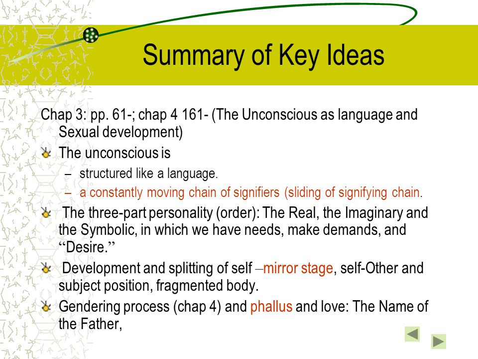 Summary of Key Ideas Chap 3: pp. 61-; chap 4 161- (The Unconscious as language and Sexual development)