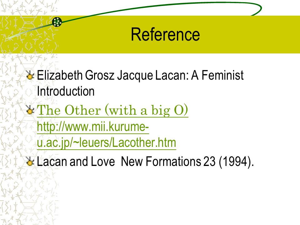 Reference Elizabeth Grosz Jacque Lacan: A Feminist Introduction