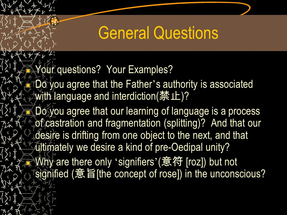 General Questions Your questions Your Examples
