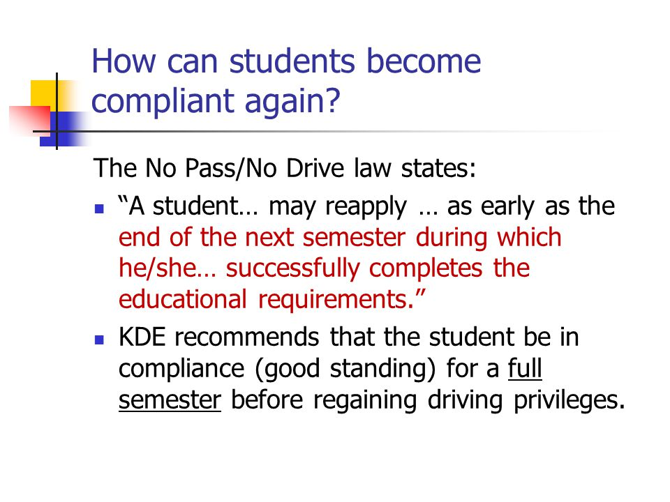 How can students become compliant again