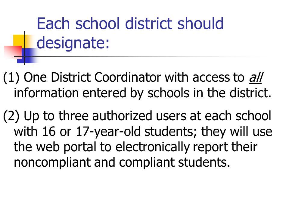 Each school district should designate: