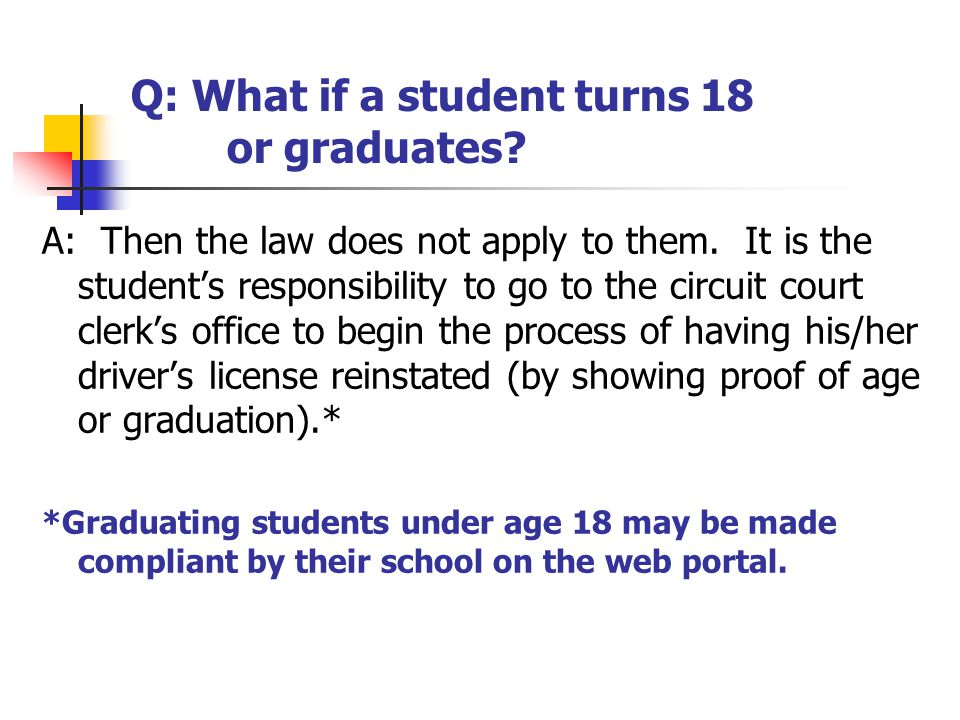 Q: What if a student turns 18 or graduates