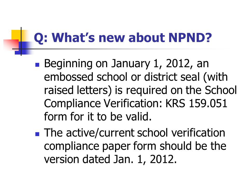 Q: What's new about NPND