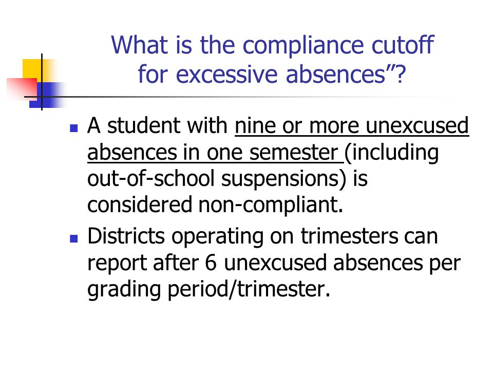 What is the compliance cutoff for excessive absences