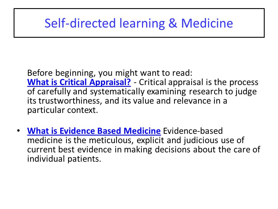 Self-directed learning & Medicine