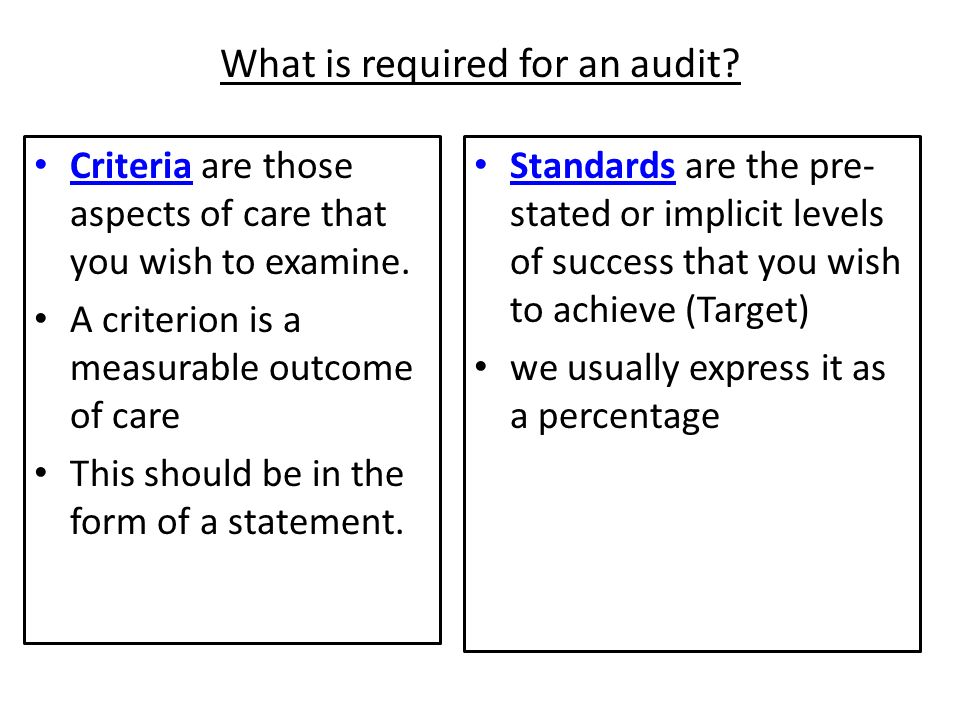 What is required for an audit