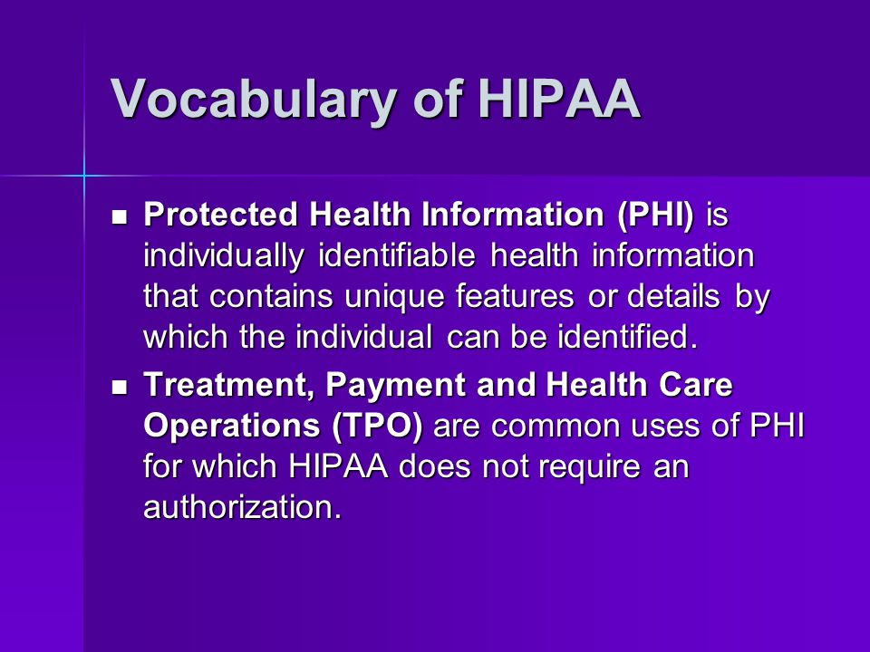 Vocabulary of HIPAA