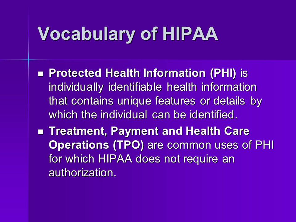 Vocabulary of HIPAA