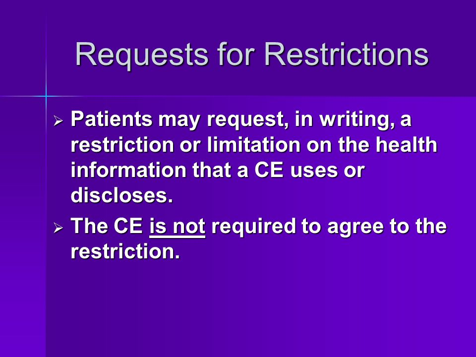 Requests for Restrictions