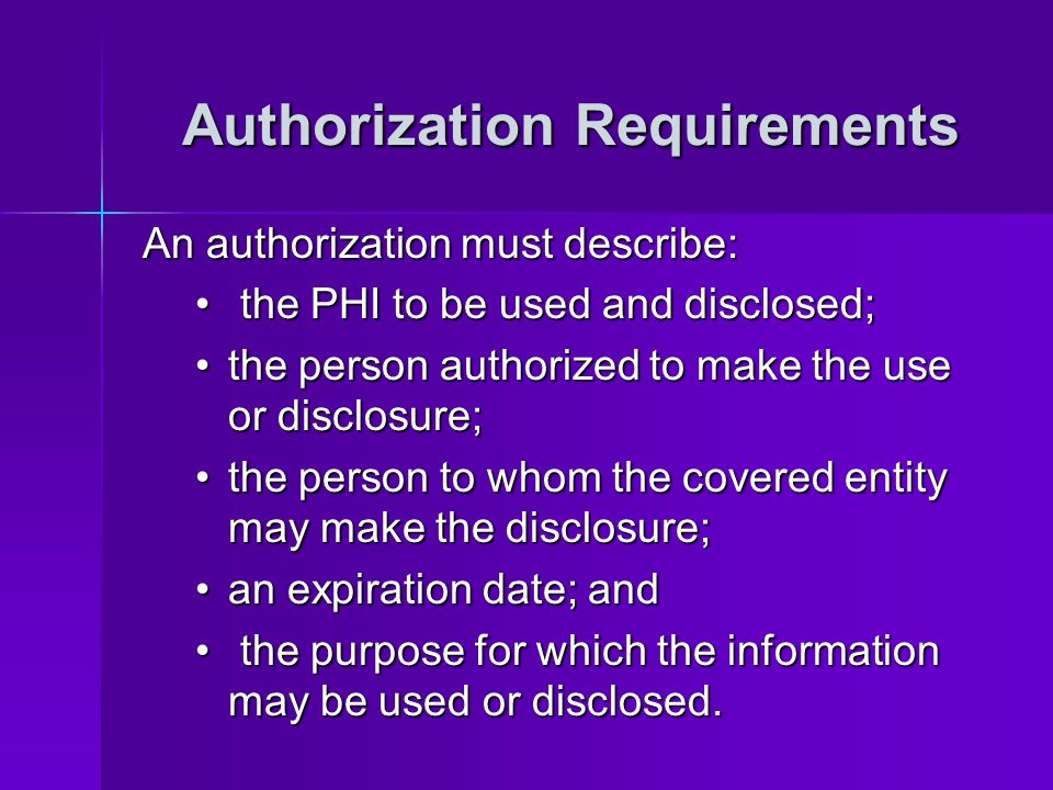 Authorization Requirements