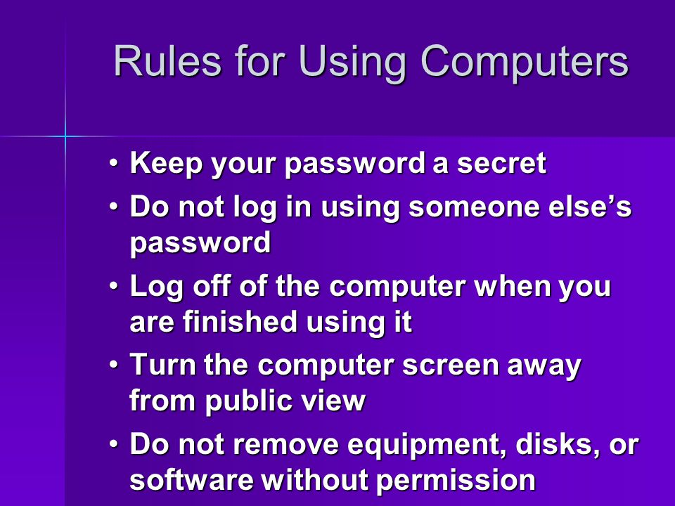 Rules for Using Computers