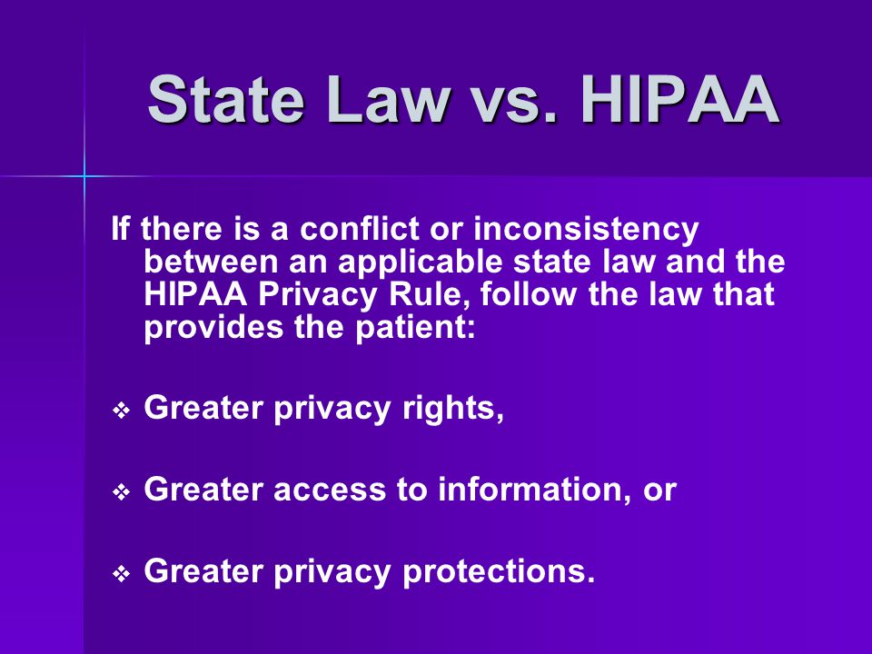 State Law vs. HIPAA
