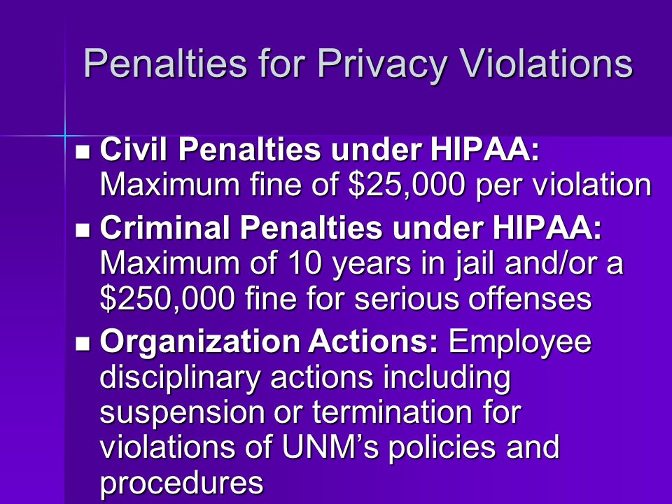 Penalties for Privacy Violations