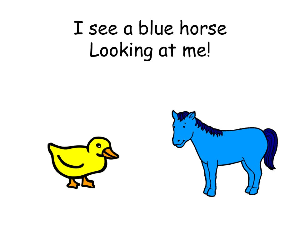 I see a blue horse Looking at me!