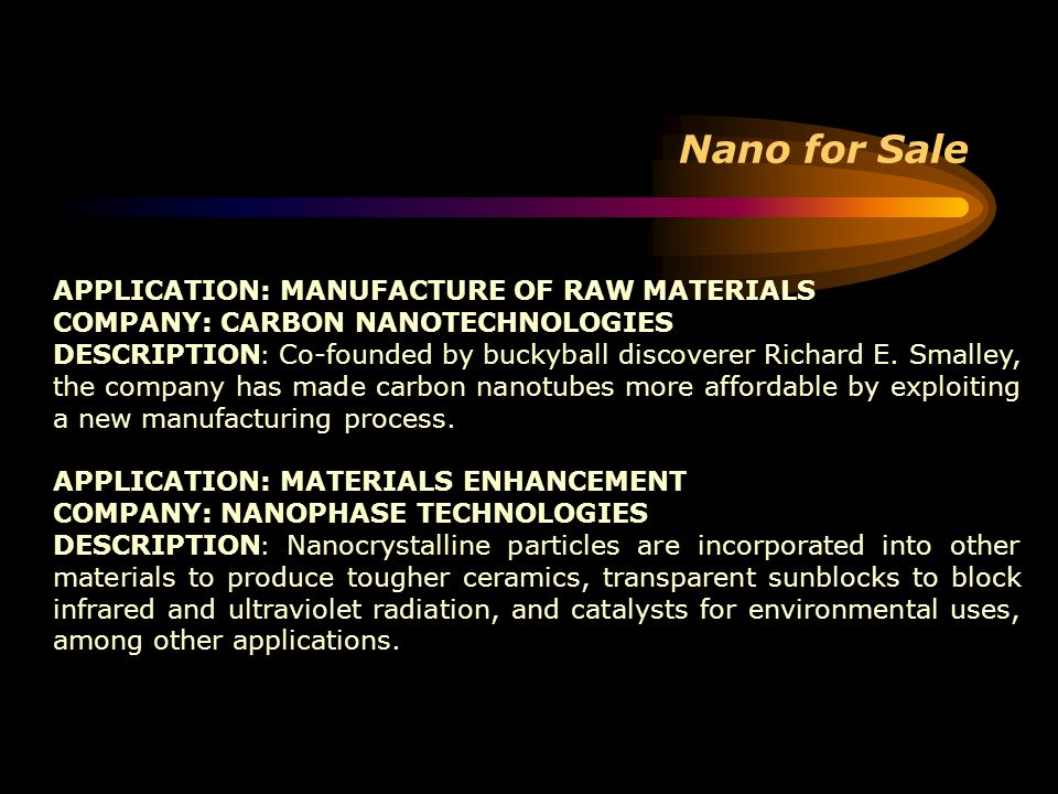Nano for Sale APPLICATION: MANUFACTURE OF RAW MATERIALS