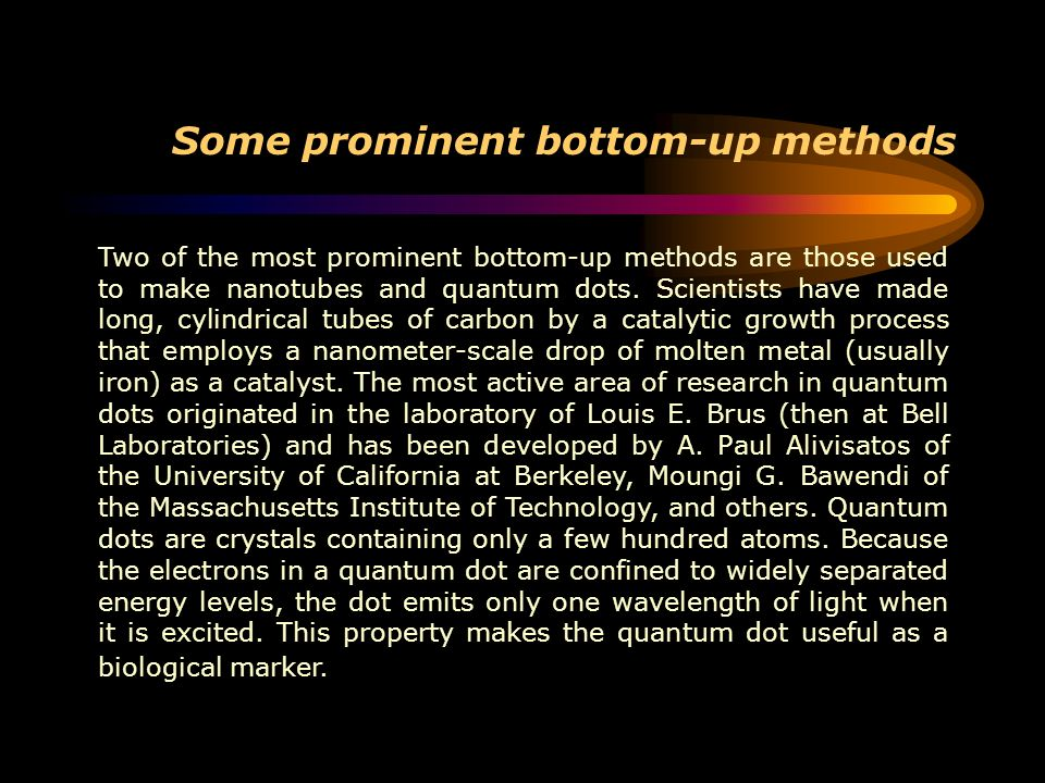 Some prominent bottom-up methods