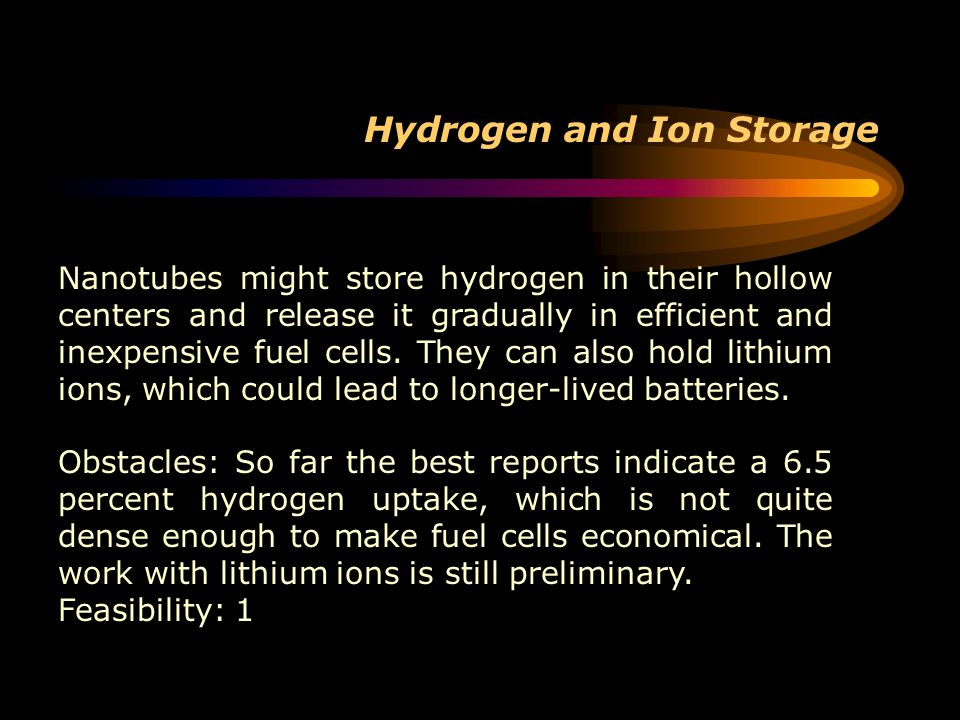 Hydrogen and Ion Storage