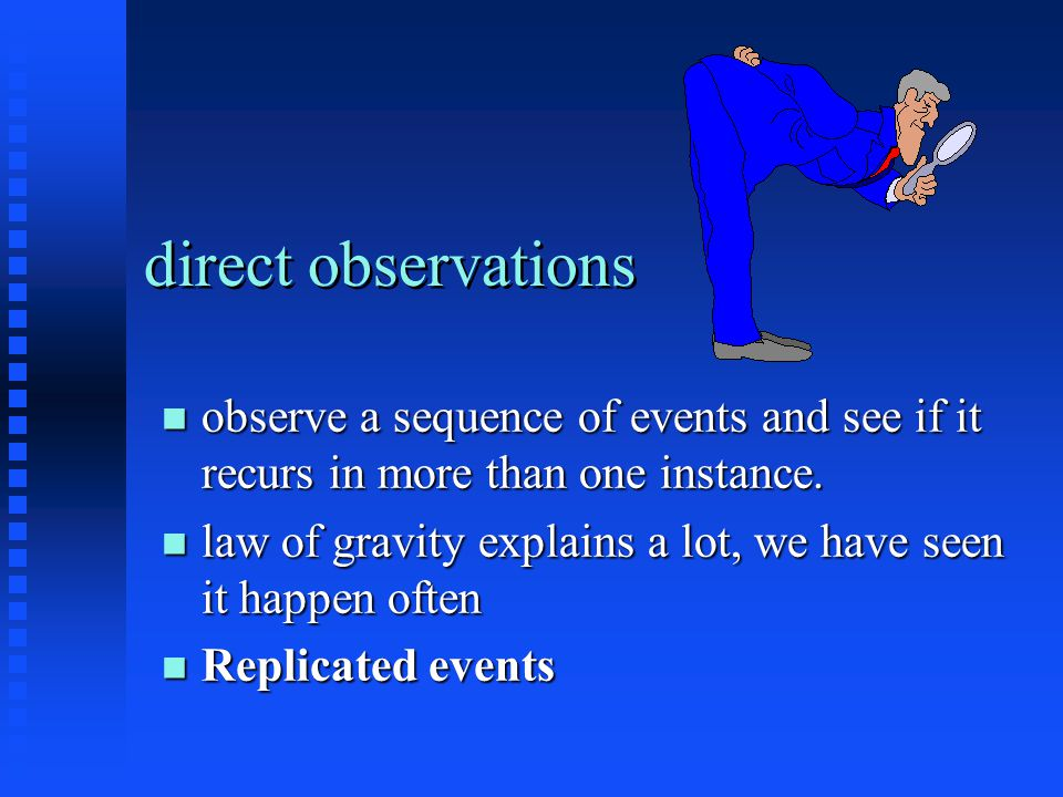 direct observations observe a sequence of events and see if it recurs in more than one instance.