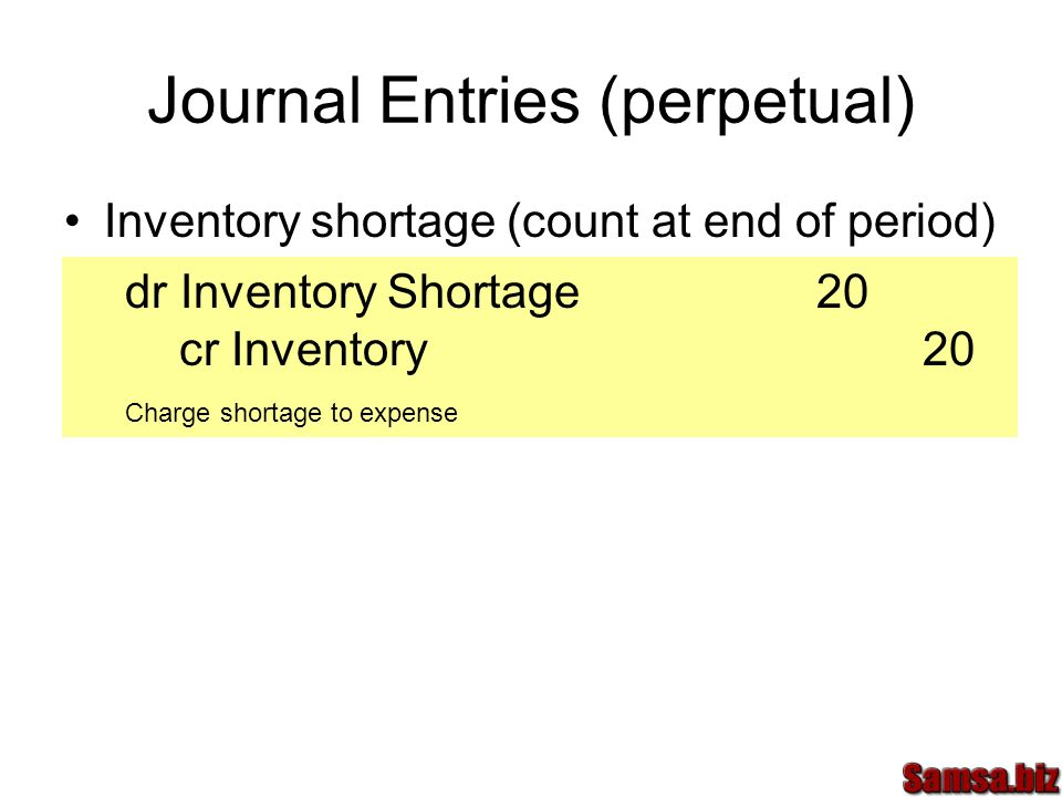 Journal Entries (perpetual)
