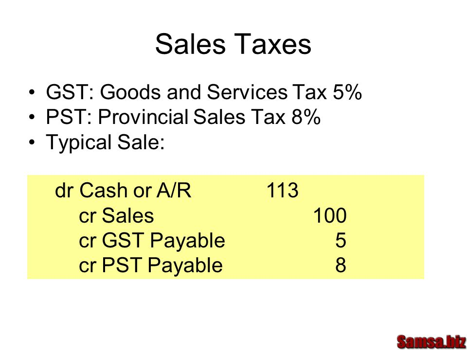 Sales Taxes GST: Goods and Services Tax 5%