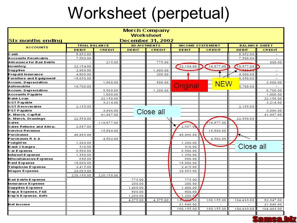 Worksheet (perpetual)