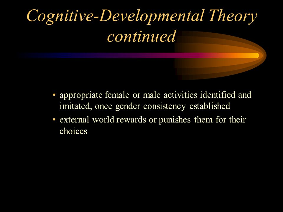 Cognitive-Developmental Theory continued